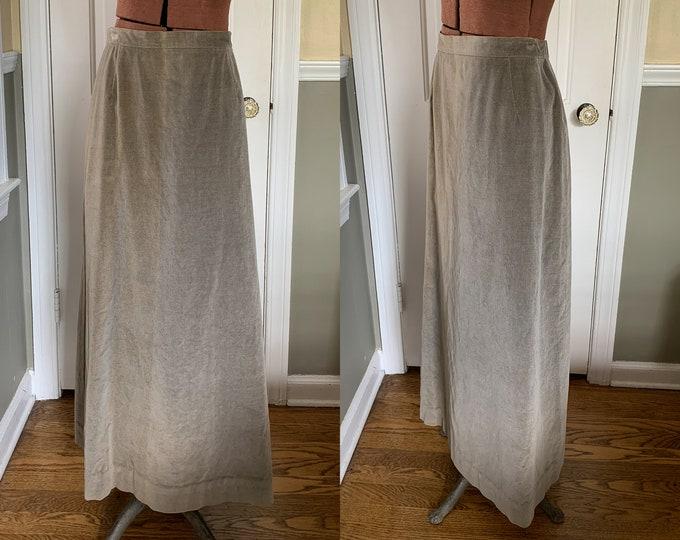 Vintage 1970s handmade gray velvet maxi skirt | Size L
