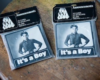 """Vintage NOS Little Rascals Alfalfa """"It's a Boy"""" baby announcements 20pc"""
