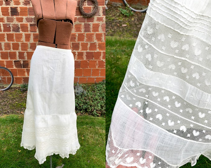 Authentic Victorian white cotton and lace skirt or petticoat with heart detail | white vintage underskirt | wedding slip | Size S - M