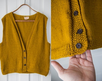 Vintage 1960s goldenrod mustard yellow button down hand-knit sweater vest | Size XXL