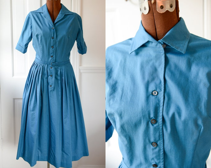 Vintage 1950s blue cotton shirt dress with full skirt, mid century day dress, Size XS/S