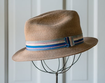 Vintage 1950s 1960s finely braided lightweight fedora hat made by Laredo Hats with striped blue ribbon | made in USA | 6 7/8 (small)