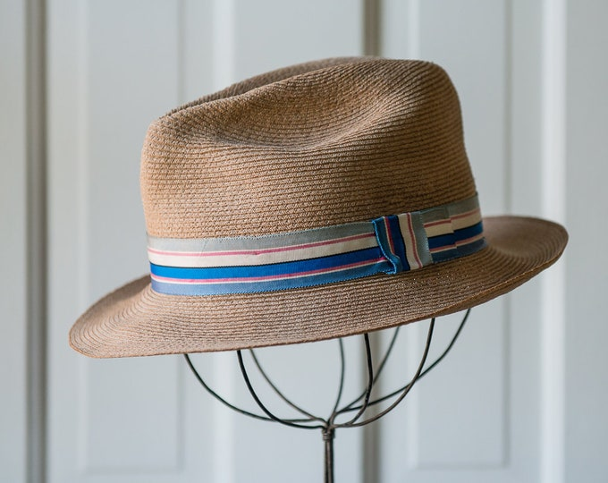 Vintage 1950s 1960s finely braided lightweight fedora hat made by Laredo Hats with striped blue ribbon, made in USA, 6 7/8 (small)