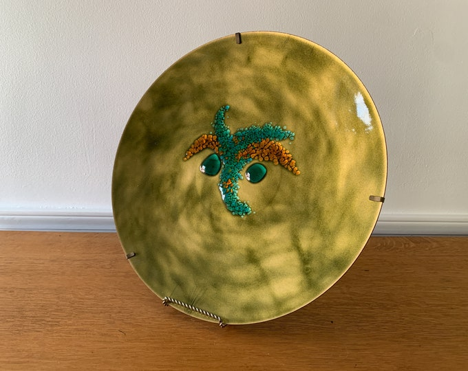 LARGE Vintage 50s 60s handcrafted enamel decorative dish olive green teal and burnt orange, made by Bovano Cheshire Ct
