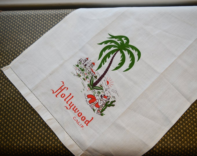 "Vintage 1950s cotton souvenir dish towel or hand towel from Hollywood California | 13"" x 18.5"""
