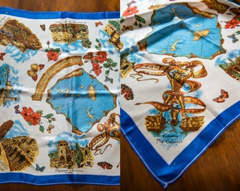 """Vintage 1950s silky novelty travel souvenir scarf from Rhodes and Dodecanese Greek Islands, 25"""" x 27"""""""
