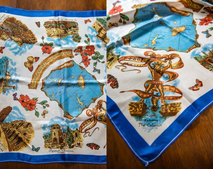 "Vintage 1950s silky novelty travel souvenir scarf from Rhodes and Dodecanese Greek Islands | maps | 25"" x 27"""