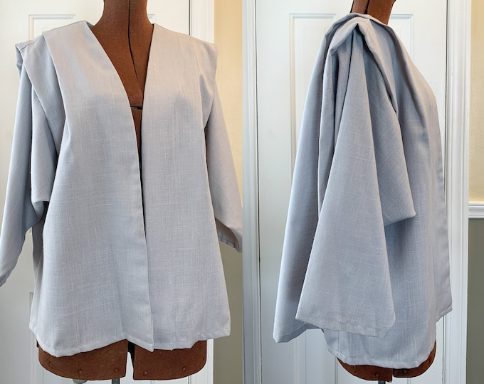 Vintage 1970s dove gray blazer with exaggerated pleating/draping at the shoulders, minimalist jacket, made by Christina's, Size L