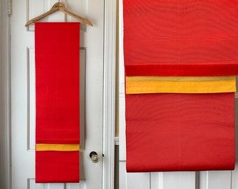 Vintage red and yellow Japanese obi sash, authentic kimono sash, Japanese textile