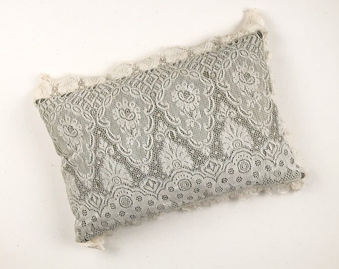 Vintage ornate lace throw pillow with green gingham under fabric | decorative bed pillow | shabby chic decor pillow