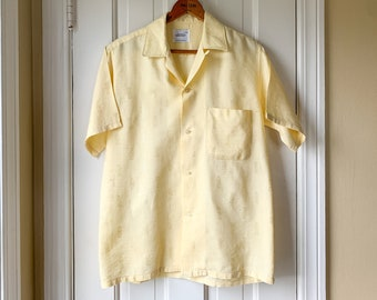 Vintage 1950s yellow short sleeve summer shirt, Penney's Towncraft, Size S