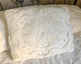 Vintage embroidered cutout horse throw pillow, handmade decorative bed pillow, shabby chic decor, farmhouse decor