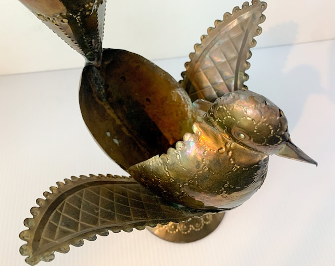 Vintage brass decorative bird planter, boho brass table top decor, made in India