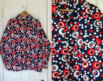 Vintage 1960s red, white & blue mod polka-dot polyester men's button down shirt | Don Loper | by Duke of Hollywood | Size L