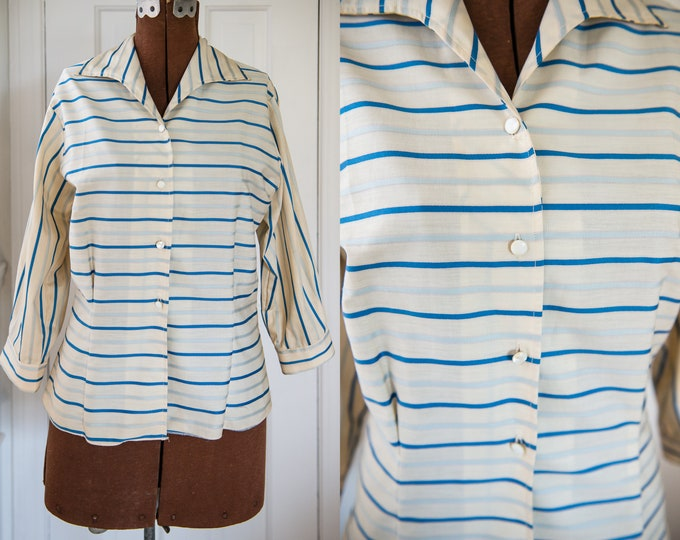 Vintage Sz M 50s blue striped cotton blouse with 3/4 sleeve, career blouse