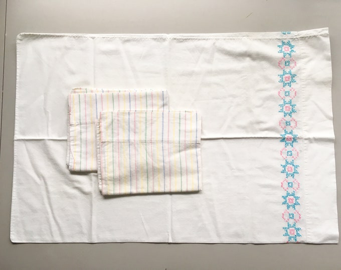 "Lot of 3 vintage 1970s white muslin pillow cases with stripes and pink and blue hand-embroidery | standard size | 20"" x 30"""