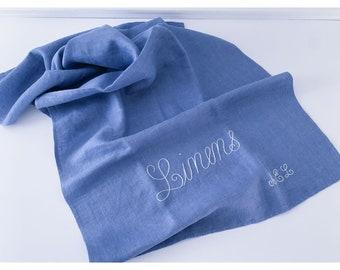 Vintage blue hand-embroidered tea towel or dish towel