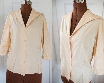 Vintage Sz M/L 50s golden yellow cotton blouse with 3/4 sleeve, Bonwit Teller