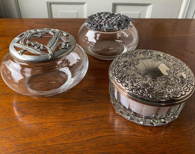 Collection of 3 glass dresser jars with lids | dressing table powder jar | glass potpourri jar