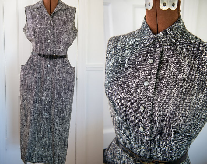 Vintage 1950s black and white sleeveless button-up dress with pockets, Size XS/S