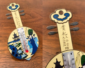 Vintage Japanese enameled thermometer shaped like a mandolin or biwa string instrument, travel souvenir, musical instrument thermometer