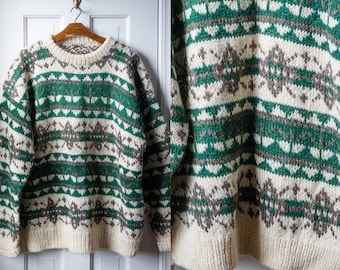 Vintage handmade wool Nordic sweater in cream, gray/brown and green Size XL
