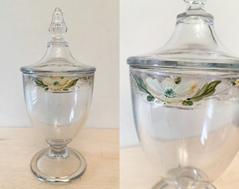 Vintage hand painted glass candy dish with lid or apothecary jar, dressing table storage jar