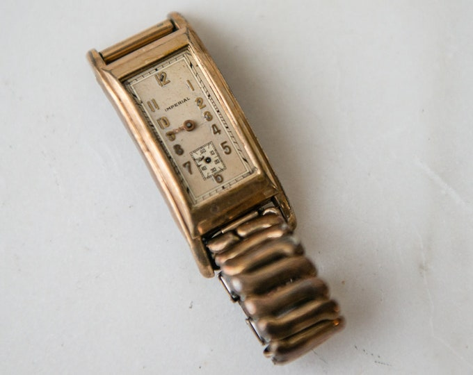 Vintage non-working incomplete Imperial wristwatch and watch band | rehab project or for mixed media, jewelry making or parts