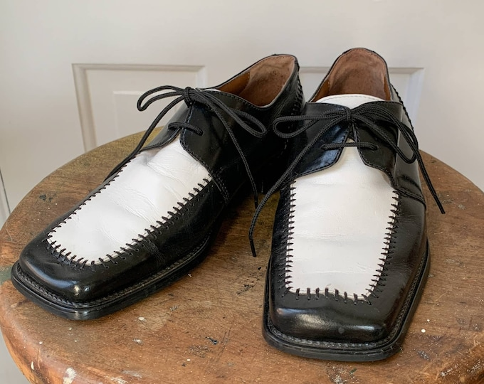 Vintage Fratelli black and white mens square toed lace-up dress shoes Sz 7.5/8