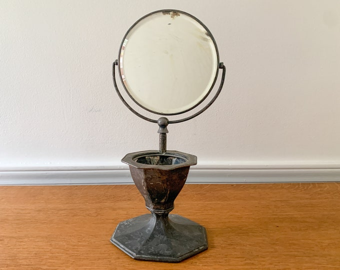 Antique F.B. Rogers Silver Co. tabletop shaving mirror, barber collectibles, men's grooming collectibles
