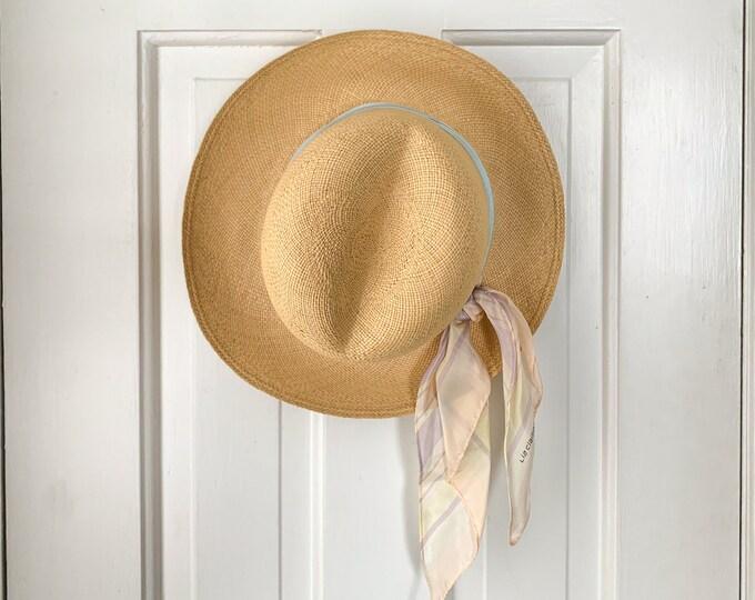 Vintage 1980s Liz Claiborne straw hat with scarf in pastel blue and pink | vintage garden hat | vintage beach hat | size M/L