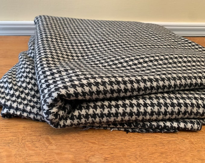 Vintage wool houndstooth fabric in black and off-white, suiting fabric, refined wool fabric