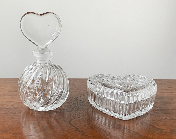 Two piece set glass perfume bottle and heart shaped trinket box | glass dressing table accessories | glass jewelry box