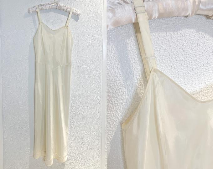 Vintage cream color minimalist full slip, slip dress, Size S