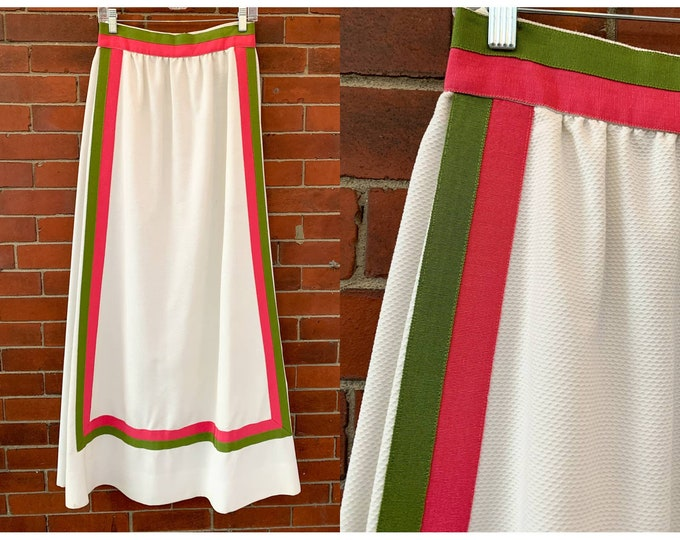 VTG 70s white maxi skirt with pink and green ribbon detail, pockets Sz S