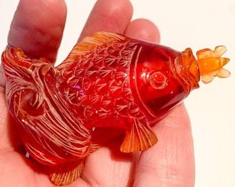 Vintage orange carved fish shaped snuff box or bottle