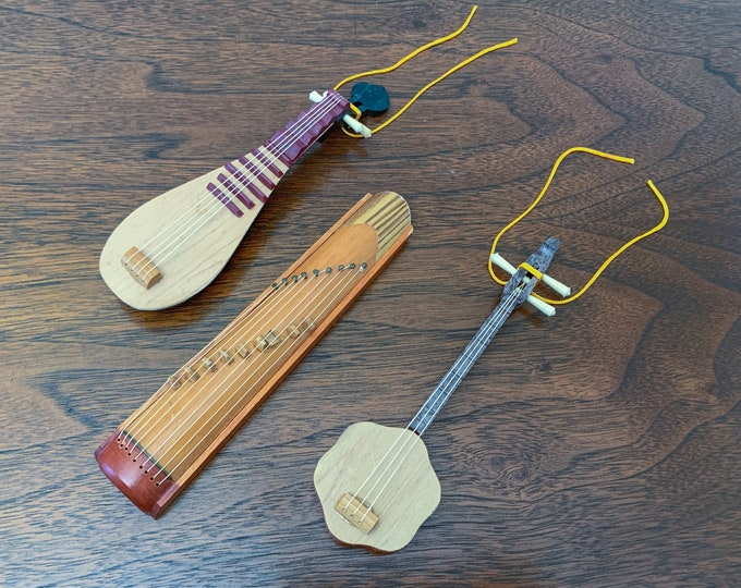 Vintage collection of miniature Japanese musical instruments, tiny wooden instruments, wood ornaments
