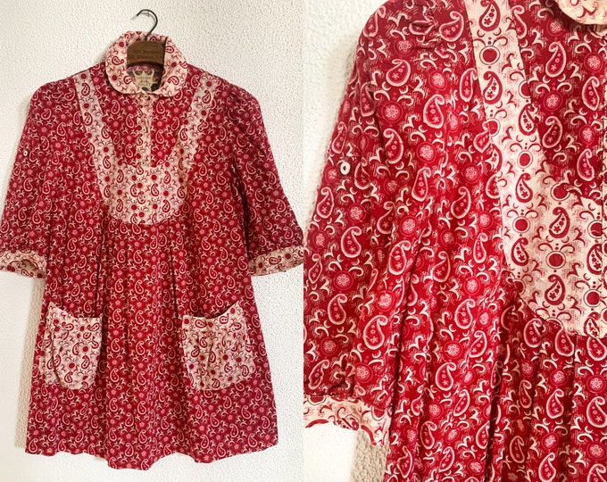Chelsea & Violet smock top blouse in red paisley print and pockets, cottage core fashion, Size S