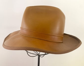 Vintage Skully's by Henschel St.Louis leather hat, fedora style hat or western hat, Size S