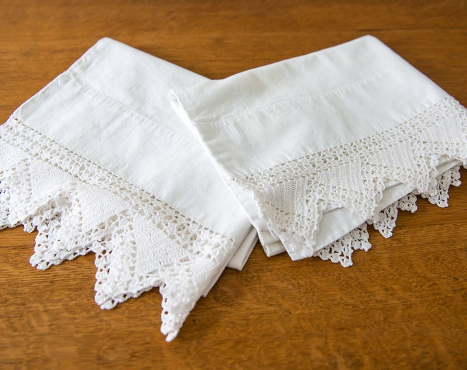 Vintage 2pc white cotton pillowcases with hand-crocheted lace edging, standard size, farmhouse decor