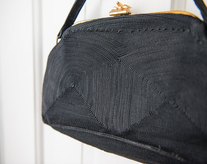 "Vintage 1940s black Corde evening handbag purse with textured geometric patterned and gold clasp | 6"" x 10.5"""