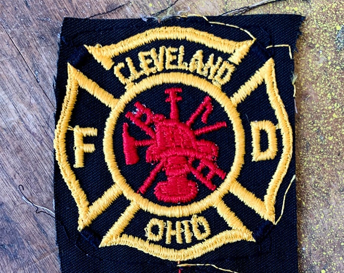 Vintage pair of Cleveland Ohio Fire Department patches, collectible embroidered patch, fireman patches