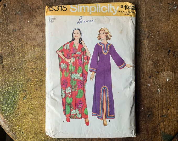 Vintage 1972 Simplicity sewing pattern for misses caftans 5315 | Size S | Size 8 - 10