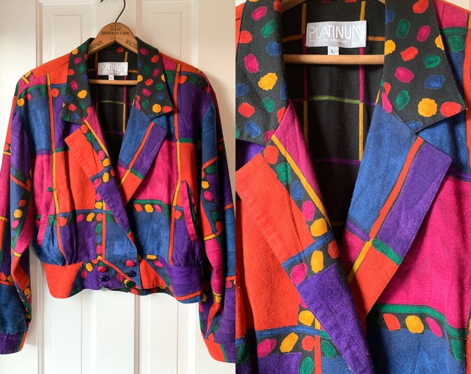 Vintage 1980s brightly colored abstract cropped jacket with shoulder pads | Platinum by Dorothy Schoelen | Size L