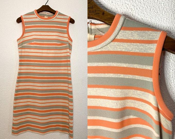 Vintage 60s knit striped sleeveless dress by Norman Watt Knits, Sz S/M