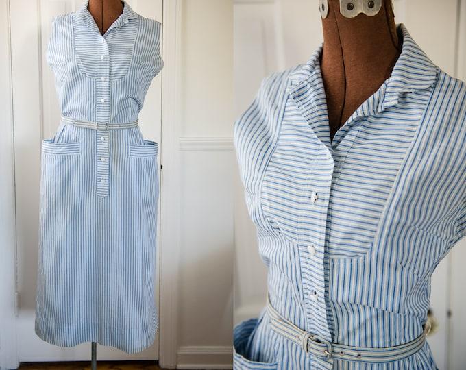 Vintage 1950s blue striped sleeveless button-up dress with pockets, Westbury Fashion, Size XS/S