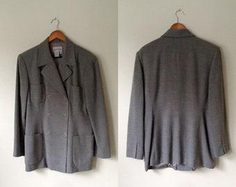 Vintage AKA Eddie Bauer women's wool tailored double breasted grayish taupe tweedy blazer, menswear style jacket, Size 16