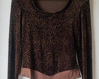 Cache brown and black animal print leopard print velvet long sleeve body suit | Size M/L