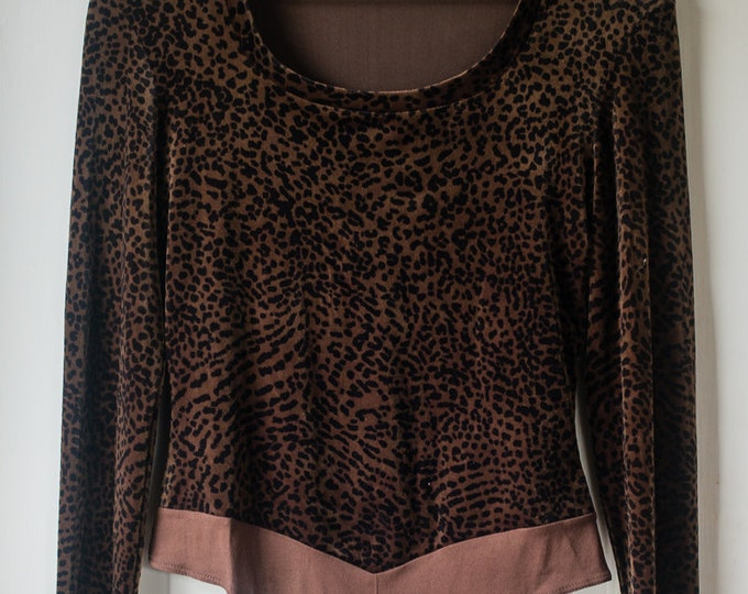 Cache animal print velvet bodysuit with long sleeves | Size M/L