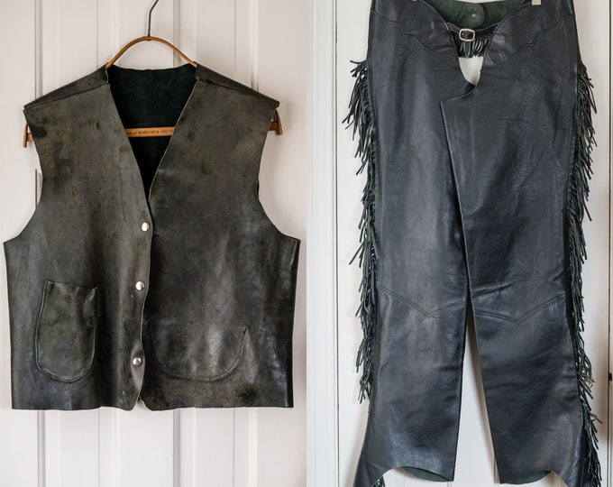 Vintage 1970s handmade black leather motorcycle vest and fringed chaps | moto gear | Size L